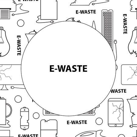 Template for text. Line style icon collection - black and white e-waste elements. Electrical waste symbols collection - computer, phone, kettle, printer, monitor, broken glass, iron, battery, keyboard, light bulb.
