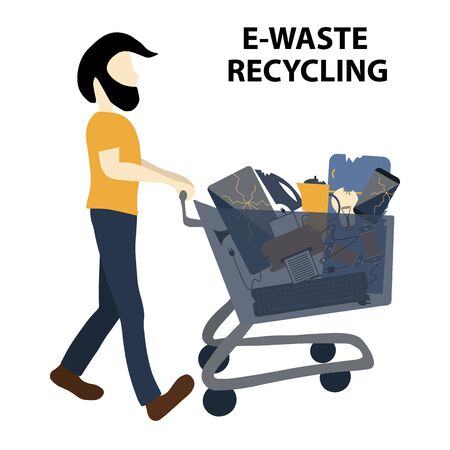 A man takes electronics waste on a trolley to a waste recycling center. Isolated on white background. Flat design style colorful illustration.