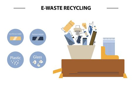 The concept of processing electronic waste by means of shredding machine and further extraction of secondary resources. Waste sorting and recycling. Flat design style colorful illustration.