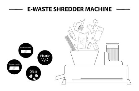 The concept of processing electronic waste by means of shredding machine and further extraction of secondary resources. Waste sorting and recycling. Flat line design style black and white illustration. Vettoriali