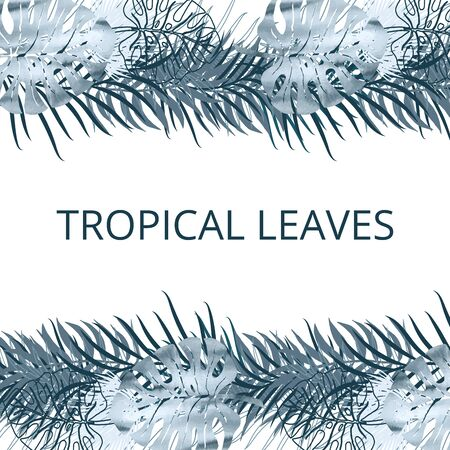 Card, template, banner blue watercolor and silhouette palm exotics and monstera leaves. Vector illustration. Vettoriali