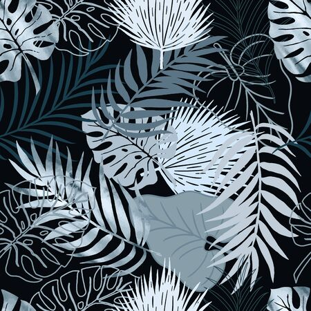 Vector seamless pattern blue watercolor palm exotics and monstera leaves on black. Vector illustration. Colored endless background.