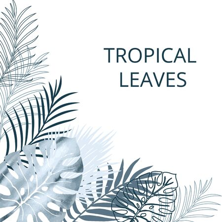 Card, template, footer, banner blue watercolor and flat palm exotics and monstera leaves. Vector modern illustration.