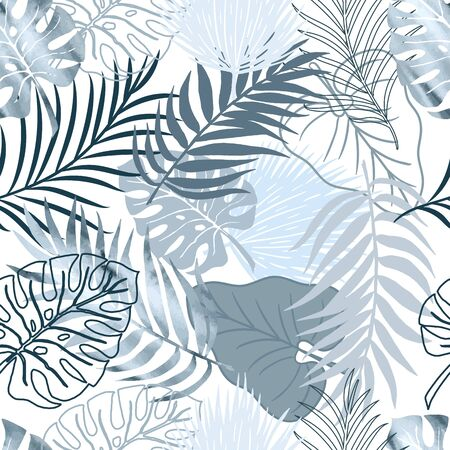 Vector seamless pattern blue watercolor palm exotics and monstera leaves on white. Vector illustration. Colored endless background. Vettoriali