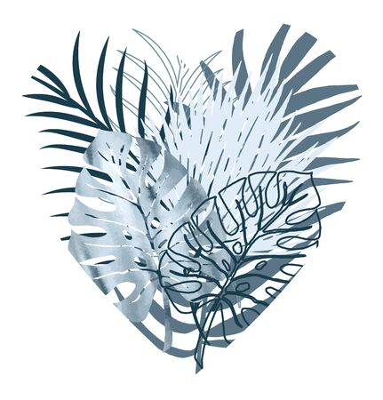 Vector color poster of blue watercolor and silhouette palm exotics and monstera leaves in the shape of a heart. Vector modern illustration.