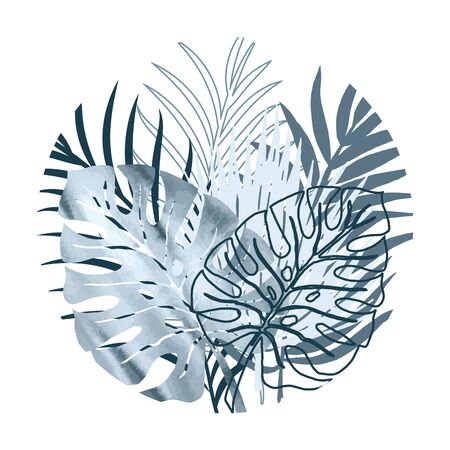 Vector color poster of blue watercolor and silhouette palm exotics and monstera leaves in the shape of a round. Vector modern illustration. Vettoriali