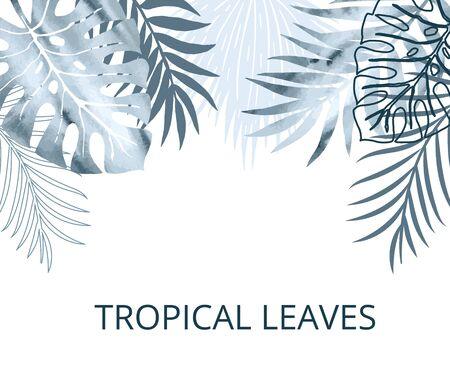 Card, template, header, banner blue watercolor and flat palm exotics and monstera leaves. Vector modern illustration. Vettoriali
