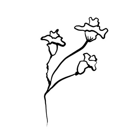 Simple not perfect black branch silhouette with flowers. Icon illustration isolated on white. Hand drawing vector asia sign, symbol. Wabi sabi japanese style.
