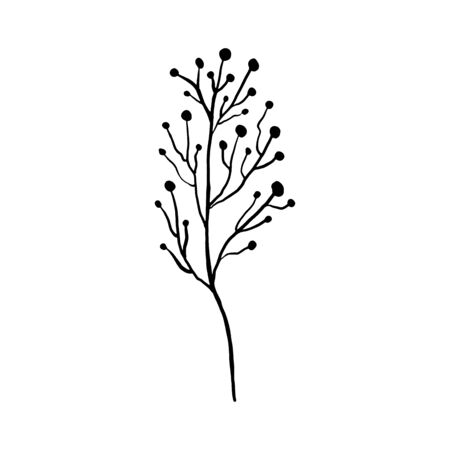 Simple not perfect black branch silhouette with berries. Icon illustration isolated on white. Hand drawing vector asia sign, symbol.