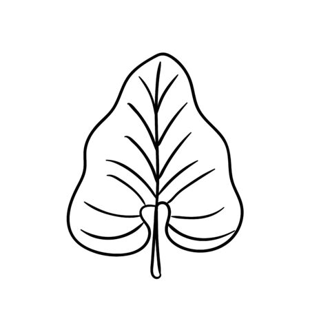 Tropical leaf silhouettes isolated on white background.Philodendron. Black outline vector illustration. Vettoriali