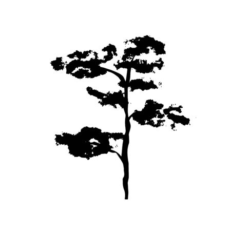 Simple not perfect black silhouette imprint tree pine, bonsai . Illustration isolated on white. Hand drawing vector asia sign, symbol. Wabi sabi japanese style.