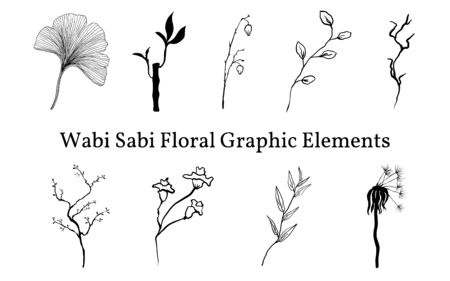 Set not perfect black graphic elements of simple plants for your design. Silhouettes of branches, leaves of ginkgo biloba, an old dandelion and bamboo. Illustration isolated on white. Hand drawing vector asia sign, symbol. Vettoriali