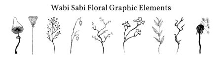 Set not perfect black graphic simple plants elements for your design. Silhouettes branches, mushroom, old dandelion and lotus. Illustration isolated on white. Hand drawing vector asia sign, symbol. Wabi sabi japanese style clipart.
