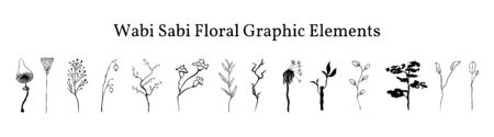 Set not perfect black graphic simple plants elements for your design. Silhouettes branches, ginkgo biloba leaf, lotus, bonsai, mushroom, old dandelion and bamboo. Illustration isolated on white. Hand drawing vector asia sign, symbol.