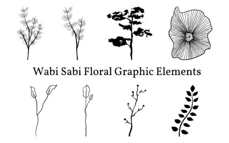 Set not perfect black graphic simple plants elements for your design. Silhouettes branches, bonsai and abstract element. Illustration isolated on white. Hand drawing vector asia sign, symbol. Wabi sabi japanese style clipart. Vettoriali