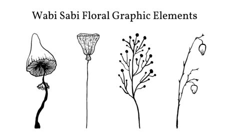 A set of not perfect black graphic simple plant elements. Silhouettes of mushrooms, lotus and branches. Illustration isolated on white. Hand drawing vector asia sign, symbol. Wabi Sabi Japanese style clipart.