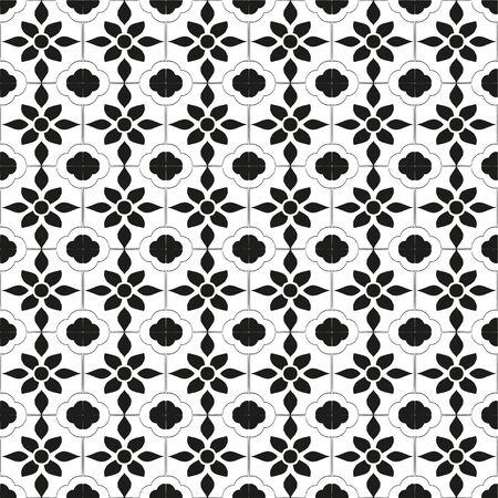 Geometric seamless tiles vector pattern. Monochrom seamless black design. Retro old mosaic tiles. Decorative textile background.