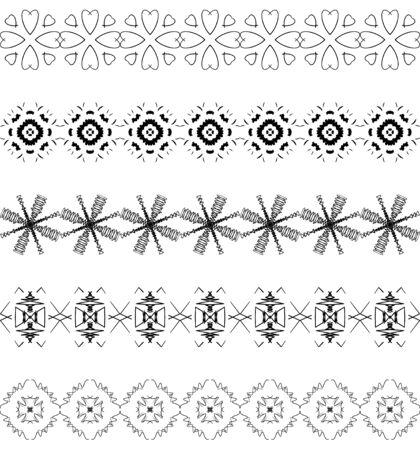 Design elements and page decoration. Vector set of monochrome Geometric black seamless horizontal border brush.