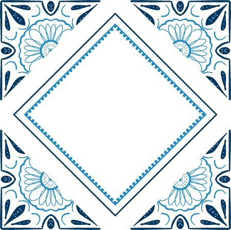 Geometric tiles square vector frame template. Vintage border pattern. Antique ceramic decor design. Mediterranean blue decor. Portuguese or spanish retro old mosaic tiles. Vettoriali