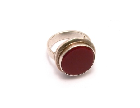 Antique silver ring with cornelian from Central Asia photo