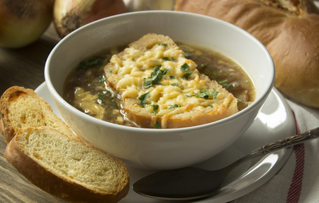 fench: French onion soup with ingredients Stock Photo