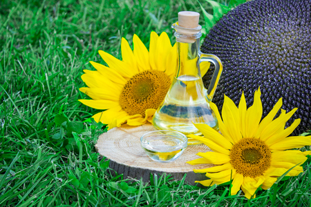 bottle of sunflower oil and sunflower with seeds on the grass