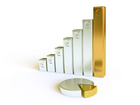 upward graph: Three-dimensional financial schedule Stock Photo