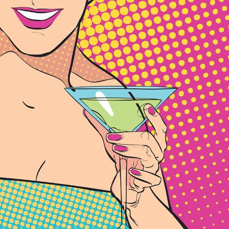 Beautiful young woman drinking martini Illustration