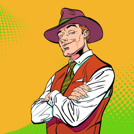 Happy cowboy. Cartoon character. Wild west, vector illustration.. Concept idea of advertisement and promo. Halftone background. Pop art retro style illustration. People in retro style.