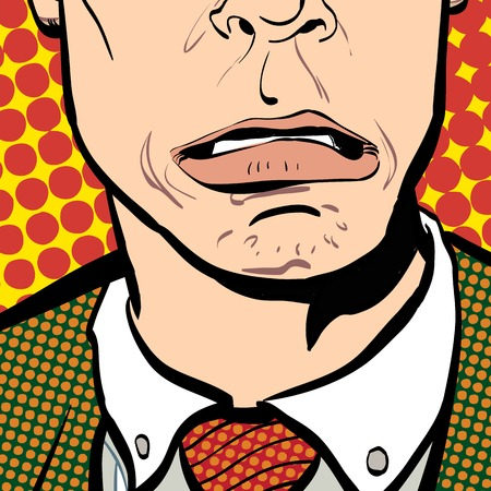 Portrait of surprised man. Surprised businessman. Surprised man. Concept idea of advertisement and promo. Pop art retro style illustration. People in retro style. Halftone background.