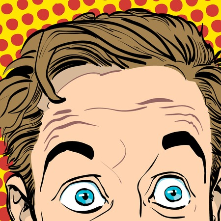 surprised man: Portrait of surprised man. Surprised businessman. Surprised man. Concept idea of advertisement and promo. Pop art retro style illustration. People in retro style. Halftone background.