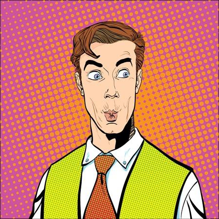 놀란 남자의 초상화입니다. 깜짝 사업가. 깜짝 된 남자. 광고 및 프로모션의 개념 아이디어입니다. 팝 아트 복고 스타일 그림. 복고 스타일의 사람들.