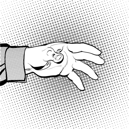 inquiring: Mans hand holding out for something. Man calling for. Man inquiring for something. Mans hand. Reaching out something. Requiring something. Halftone background