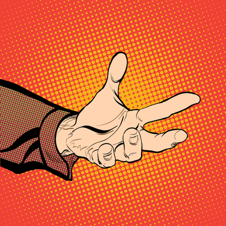 interrogate: Mans hand holding out for something. Man demanding something. Man inquiring for something. Mans hand. Reaching out. Requiring something. Halftone background