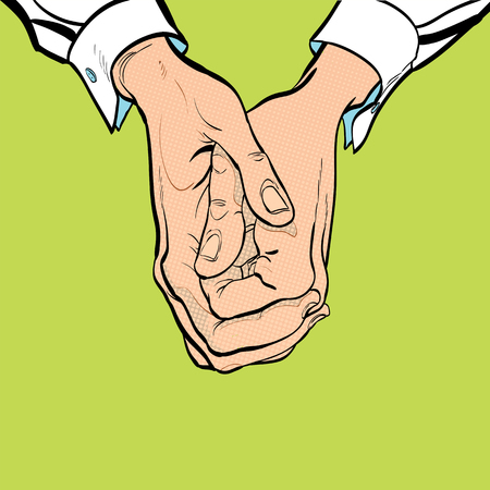 Two hands. Two clasped hands. Sit on ones hands. Mans hand. Mans wrist. White collar.