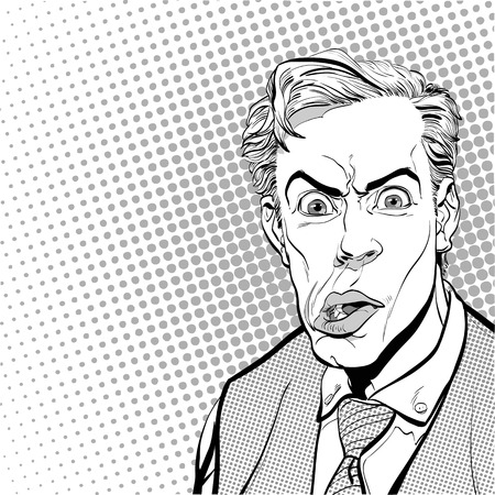 discomfiture: Portrait of scared man. Scared businessman. Surprised man. Pop art retro style illustration. People in retro style. Halftone background. Mans face.