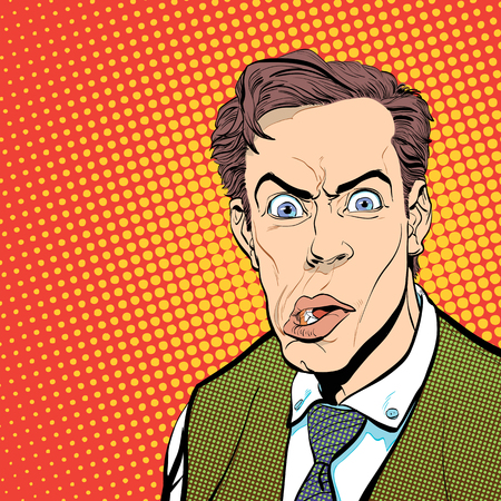 puzzlement: Portrait of scared man. Scared businessman. Surprised man. Pop art retro style illustration. People in retro style. Halftone background. Mans face.
