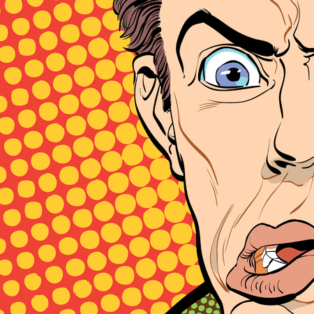 Portrait of scared man. Scared businessman. Surprised man. Pop art retro style illustration. People in retro style. Halftone background. Mans face.