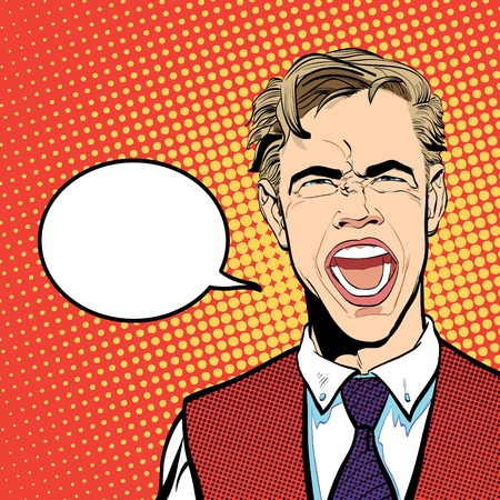 Yelling man. Cry of despair. Screaming. Despair and pain of failure or disease.Angry screaming man. Frustrated businessman shouting. Screaming man. Halftone background. Illustration