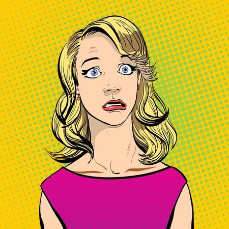 discomfiture: Portrait of surprised woman. Surprised woman. Surprised girl. Illustration