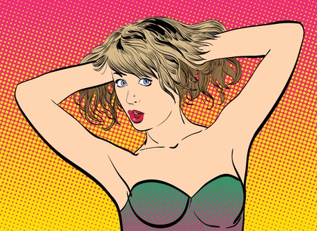 popart: A young woman. Cute woman holding hair up