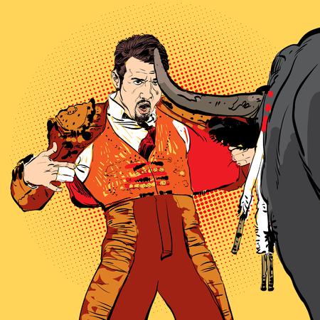 Illustration of a bull and a matador