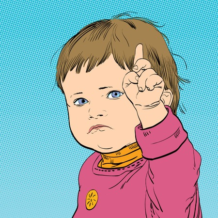 Funny cartoon baby with an angry expression on his face.