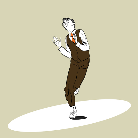 A man dancing Charleston. Pop art retro style illustration.