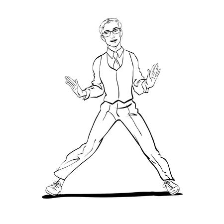 A man dancing Charleston. Pop art retro style illustration.