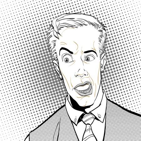 Portrait of surprised man. Surprised businessman. Surprised man. Pop art retro style illustration. People in retro style. Illustration