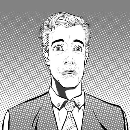 Portrait of sad man. Sad businessman. Sadness. Concept idea of advertisement and promo. Pop art retro style illustration. People in retro style. Halftone background. question what.