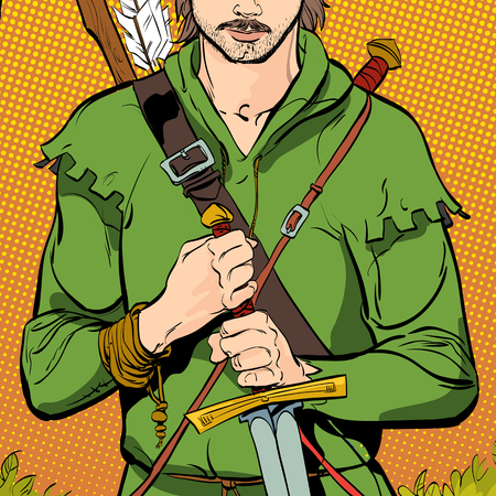 Robin Hood in a hat with feather. Young soldier. Noble robber. Defender of weak. Medieval legends. Heroes of medieval legends. Halftone background. Ilustracja