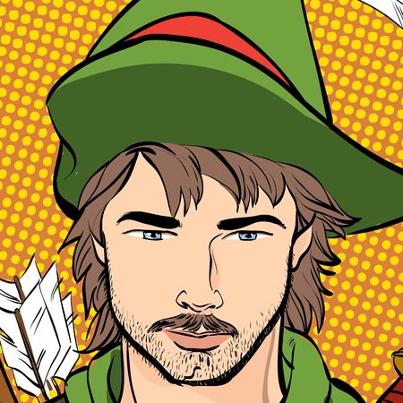 Robin Hood in a hat with feather. Young soldier. Noble robber. Defender of weak. Medieval legends. Heroes of medieval legends. Halftone background. Çizim