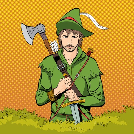 ballad: Robin Hood in a hat with feather.